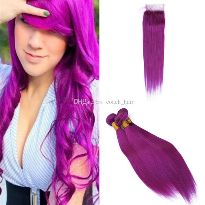 2018 Light Purple Virgin Indian Human Hair Weave Bundle Deals With Lace  Closure Lavender Violet Hair Weft Extensions And Free Part Closure From  Coach_hair, ...