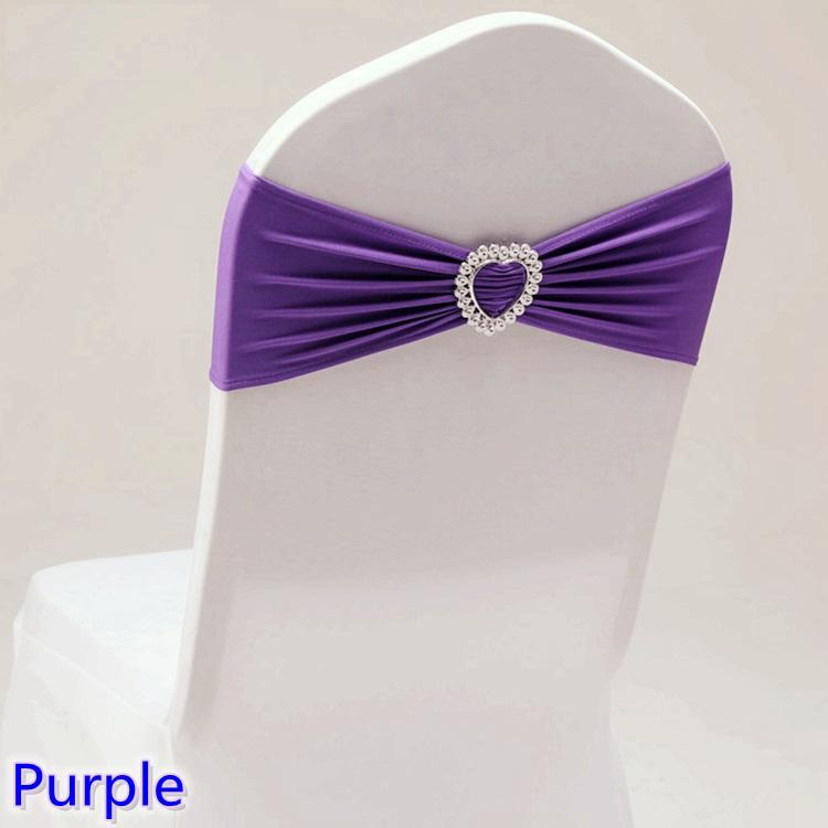 Purple colour wedding chair sash with heart buckle lycra band spandex sash bow tie For Wedding Banquet Decoration for sale