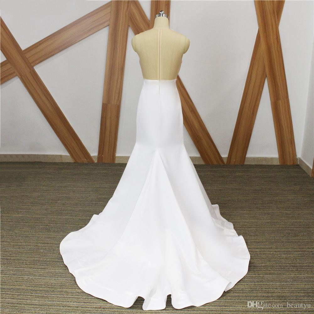 Sexy White Mermaid Prom Dresses 2018 New Real Image Illusion Bodice Sheer Beading Satin Long African Formal Party Dress Evening Gowns 2K18