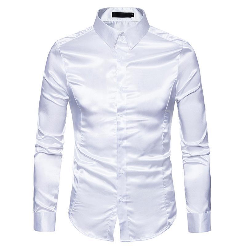 a674f121cbe4e Compre Camisa De Seda Blanca Para Hombre 2018 Moda De Satén De Seda De Los Hombres  Camisa Social Casual Slim Fit Camisas De Vestir De Manga Larga Masculina ...