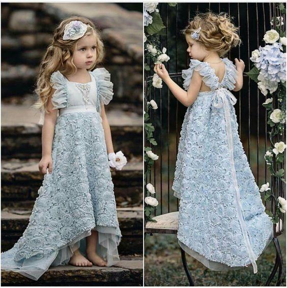 Vestido de niña de flores azul con falda rosetón Vestido de fiesta de cumpleaños de fiesta de cumpleaños de niña linda