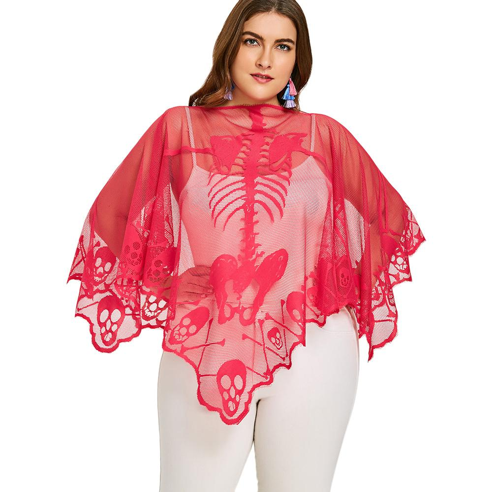 4dbab17b5d631 2019 ZAFUL Plus Size Skeleton Embroidery Lace See Thru Poncho Blouse Summer  Beach Smock Sexy Batwing Sleeve Mesh Female Blusas Shirts From Felix06