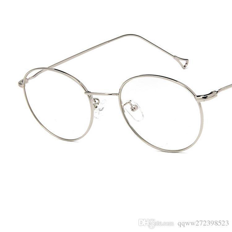 c82be92222b38 Compre O Novo Estilo De Armação De Olho De Metal Redonda Coreano Tendência  Coringa Estilo Simples Óculos Estudante Óculos De Armação Hipster  Necessário De ...