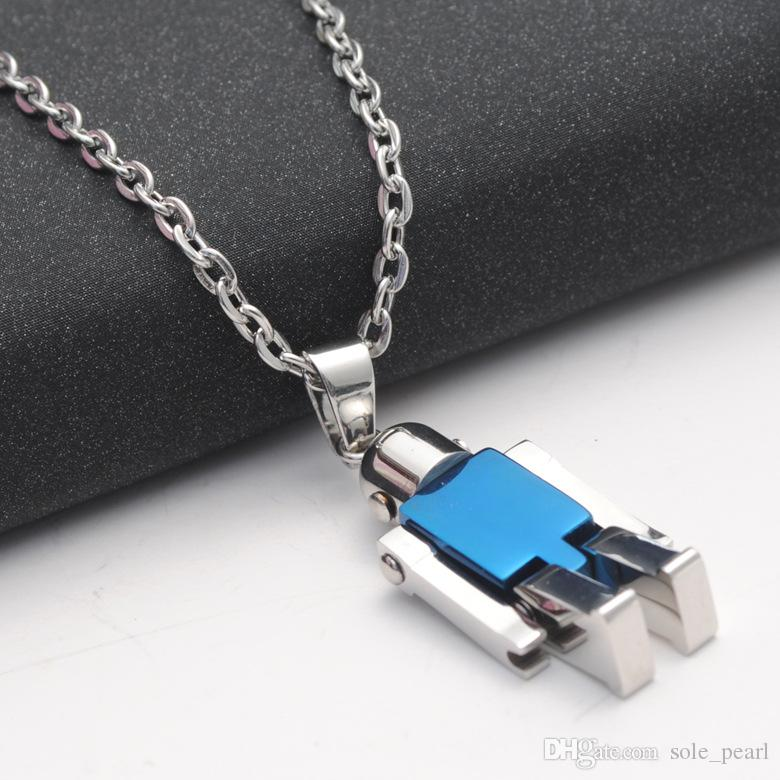 mens necklace hip hop jewelry with iced out chains silver black plated Vintage Titanium steel pendant necklace jewelry 2018 new wholesale