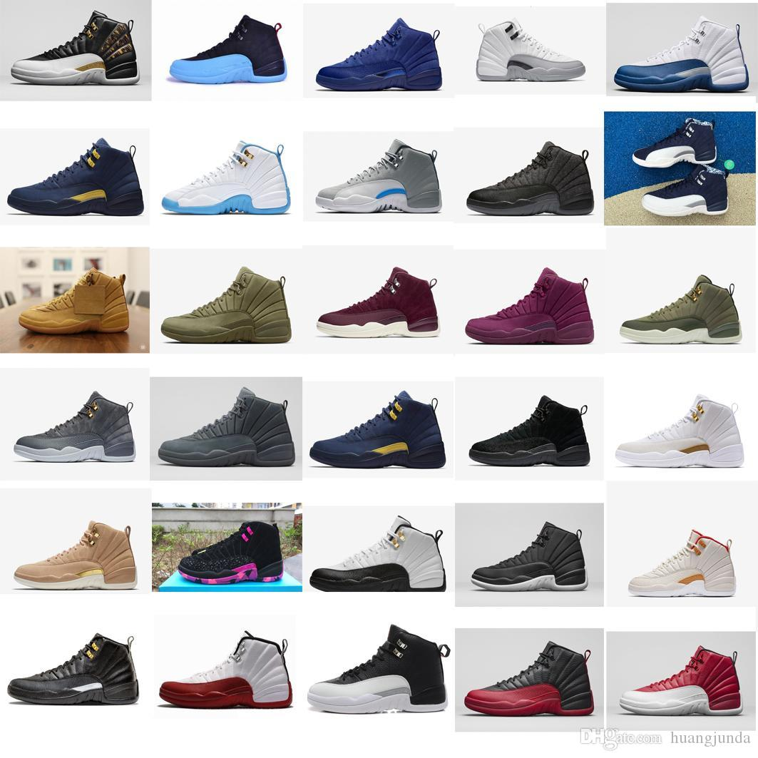34888964d0f2 Cheap Cheap Mens Jumpman 12 XII Basketball Shoes 12s Wings White French Blue  Wool Olive Air Flights J12 Sneakers Boots Tennis for Sale with Box
