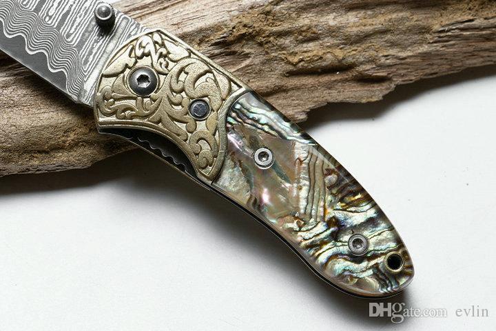 Cuchillo plegable de calidad superior Cuchillo de acero de damasco Cáscara + Mango de cobre Cuchillos de bolsillo EDC Liner Lock con bolsa de nylon