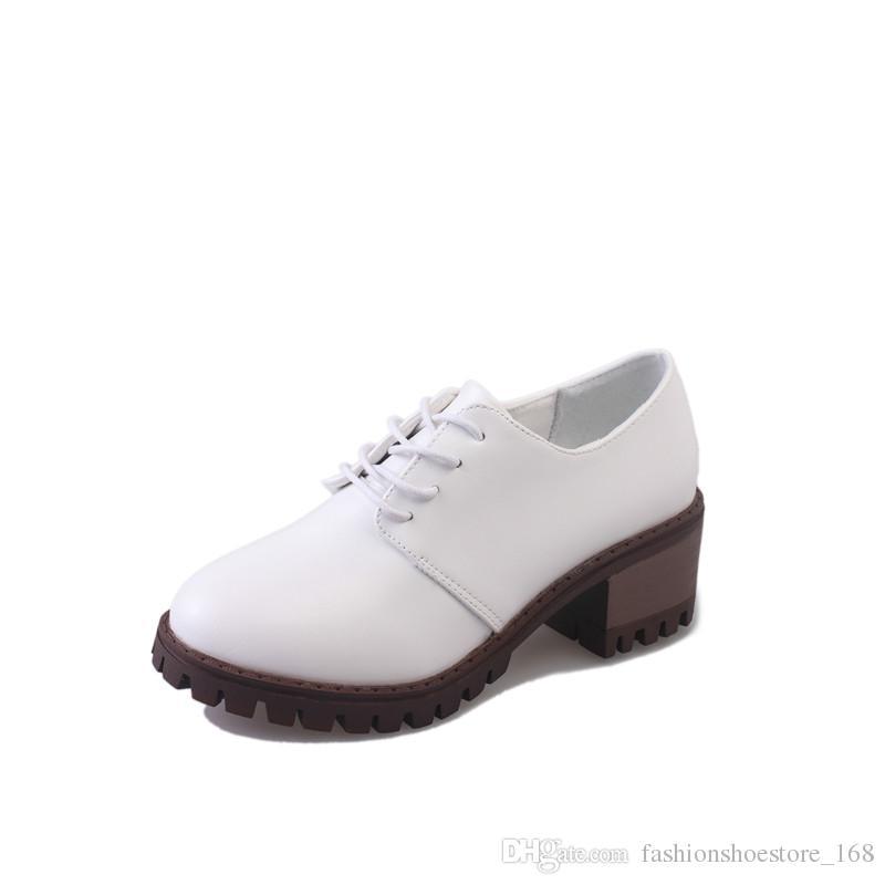59e5a795 Compre 2018 Primavera Otoño Zapatos De Mujer Tacones Gruesos Bombas  Femeninas Punta Redonda Plataforma De Señoras Zapatos Solteros Casual Mujer  De Tacón ...