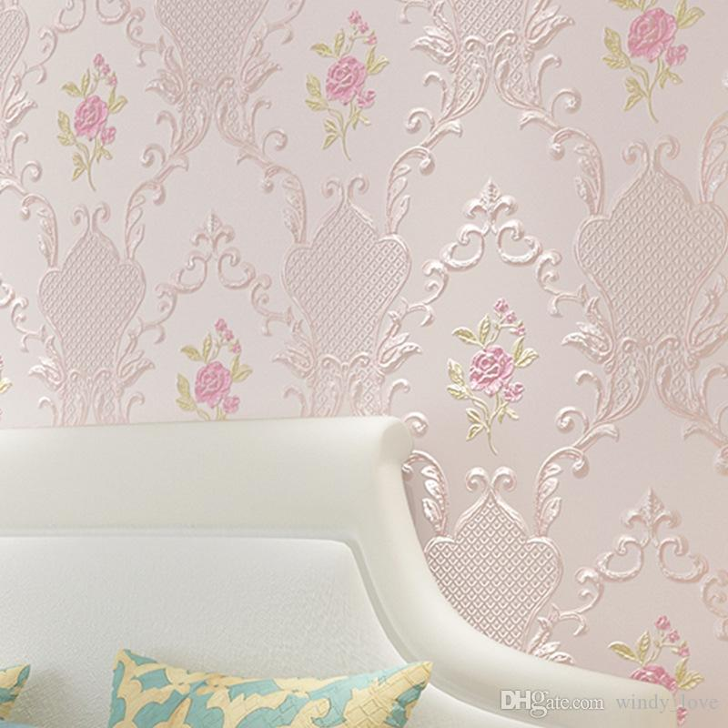 Walltalk Wall Background Home Decor Floral Embossed Pink Beige