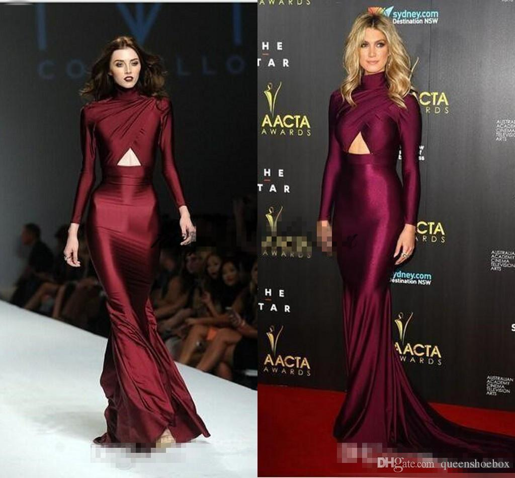 Michael Costello Long Sleeve Evening Dresses Burgundy High Neck Plus ...