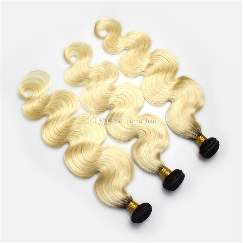 100% Brazilian Human Hair Body Wave Two Tone 1B 613 Lace Closure With Bundles Color#613 Ombre Virgin Hair Weave For Sale