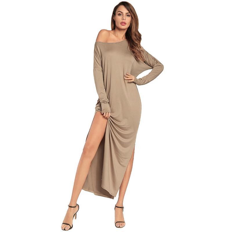 e608e1309455 Loose High Split Maxi Dresses Sexy Off Shoulder Solid Casual Long Dress  Elegant Vintage Autumn Ladies Vestidos Designer Party Dresses Plus Size  Formal Dress ...