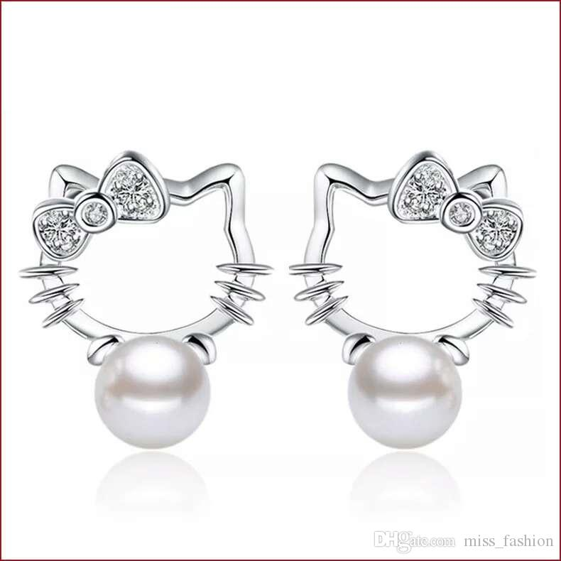 fb454b10b 2019 Pearl Earrings Jewelry White Pearl Stud Earrings Hello Kitty Shaped  Vintage Wedding Party Girl Ethnic Charms From Miss_fashion, $0.96    DHgate.Com