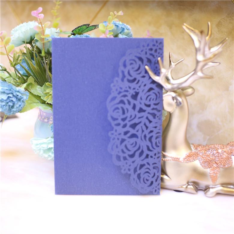 Many Color Customized Wedding Invitations Blue Laser Cut Wedding Party Invitation Cards with Envelope+RSVP Card Wedding Supplies