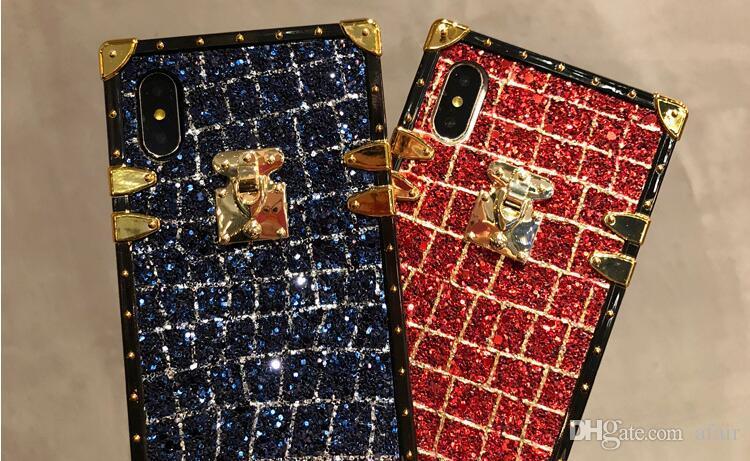 Élégant Paris Bling Glitter Cas de Téléphone portable Hybride De Protection En Cuir tpu Cas Coque Arrière Couverture Pour iphone X 8 7 6 6S Plus