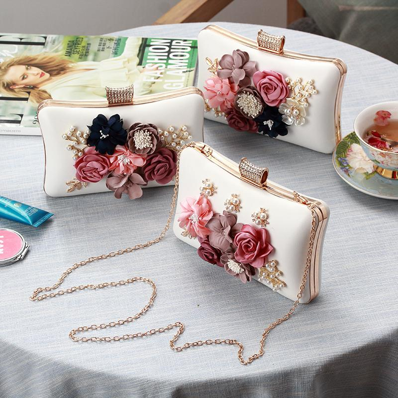 Korea Women Multi Flower Evening Bag Ladies Fashion Party Clutch Purse Female Rose Flower Clutches With Gold Chain 3 type