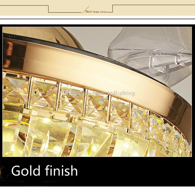 Modern Avize Tavan Hayranları Kristal Lamba AC110V 220 V 42 Inç LED Tavan Hayranları Avize Oturma Odası Yatak Odası Aydınlatma