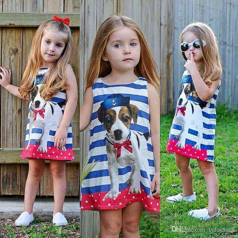 24c31c66466 2019 Summer Baby Girl Puppy Sleevless Dress Toddler Cute Children Clothing  Vestidos Striped Animal Dot Dresses Outfits Wholesale Clothes From  Tyfactory