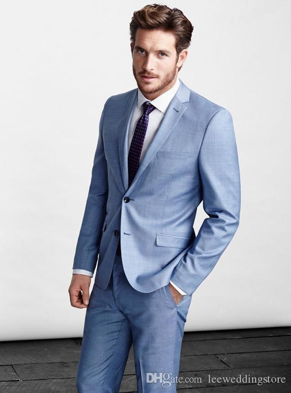 Spring Light Blue Men Suits Blazer Jacket Men Custom Made Smart Business Wedding Suits Tailor Tuxedo Terno Masculino Jacket+Pants