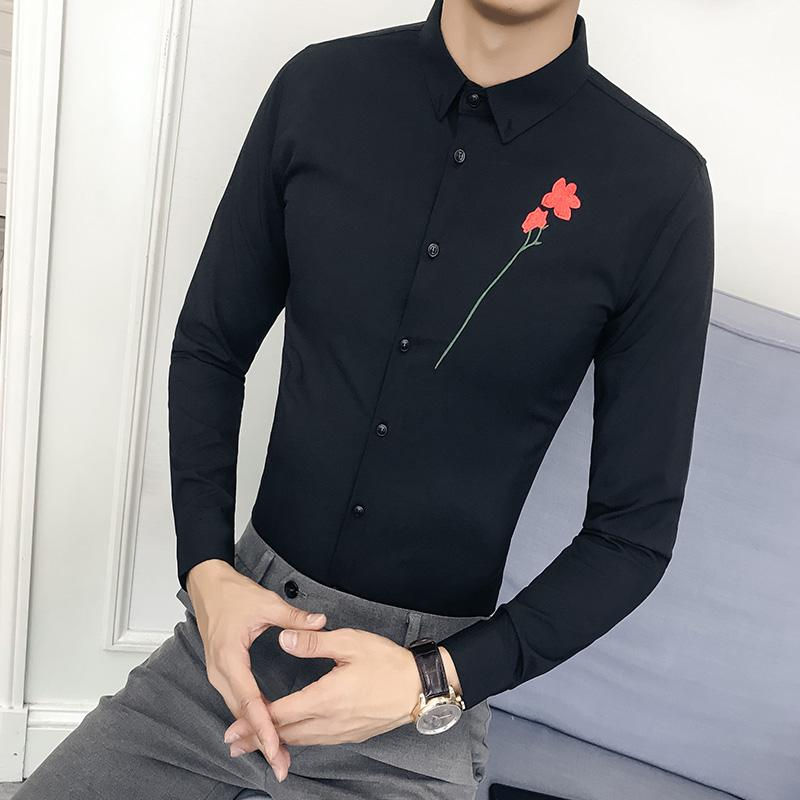 2019 Korean Shirt Men Fashion 2018 Autumn New Slim Fit Dress Male Shirt  Embroidery Casual Long Sleeve Gentlemen Shirts Social Blouses From Sizhu ab3e527ca