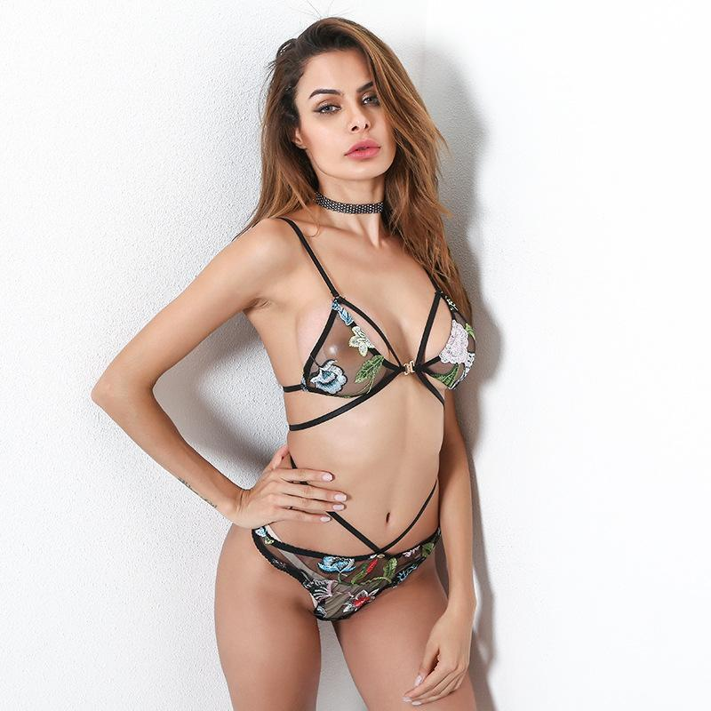 c0adc968077e6 Sexy Hot Erotic Embroidery Print Flower Hollow Out Transparent Mesh Erotic  Lingerie Sexy Set Strap Bandage Sexy Underwear Metal Button Designer  Pyjamas Lace ...
