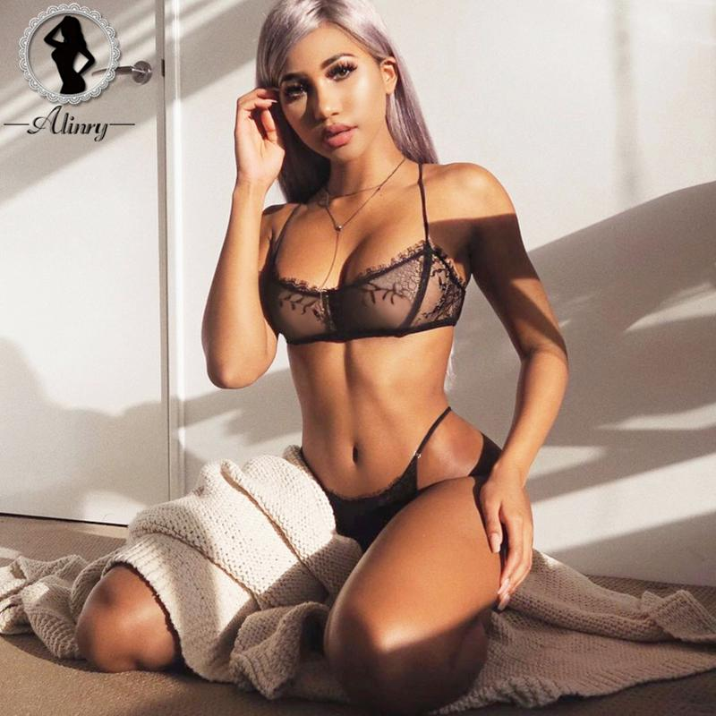 37bf69d16d 2019 ALINRY Sexy Bra Set Lace Women Wire Free Bralette Lingerie Halter Mesh  Transparent Seamless Panties Intimate Underwear Lenceria From Gingerliu