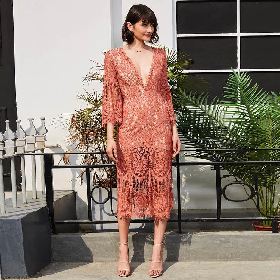 2e2c5da82447a Robe sexy femme 2019 col V profond patchwork creux robe longue évasée  manches lâche rose mi-mollet élégante robe en dentelle maxi