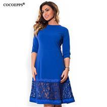 COCOEPPS 5XL 6XL Plus Size Autunno Donne Abito a pois 2018 Inverno Warm Dress Big Size Elegante plus size Abbigliamento donna Vestido