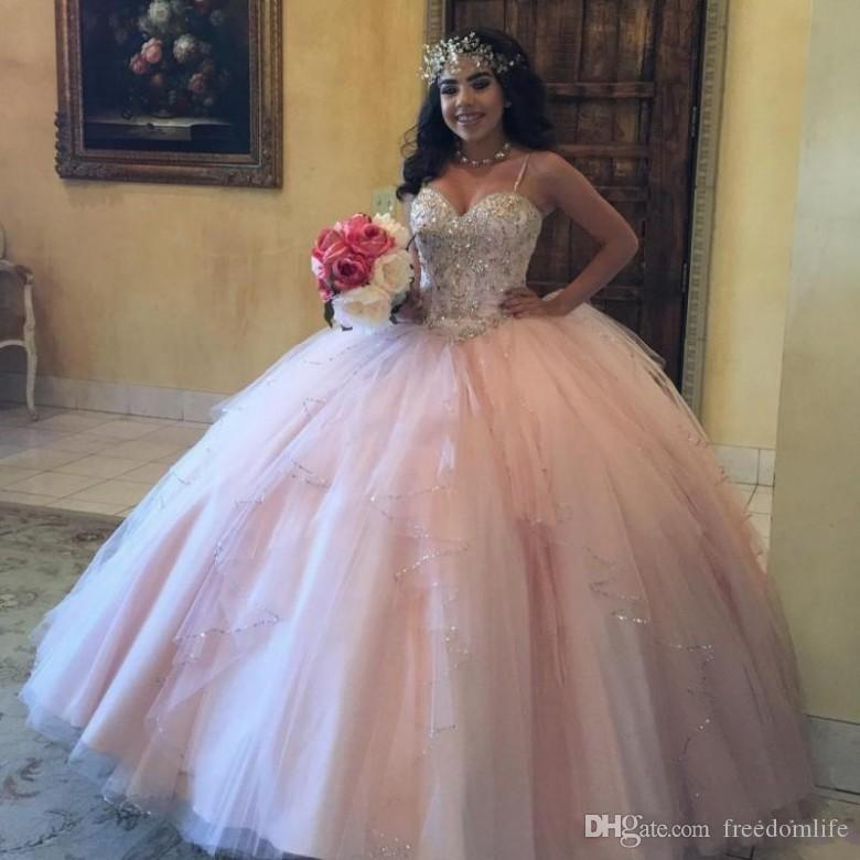 8ee6ffd5362 2018 Pink Girls Quinceanera Dresses Spaghetti Straps Corset Back Sparkly  Sequins Crystals Tulle Sweet 16 Prom Dress Birthday Party Gowns Formal  Dresses For ...