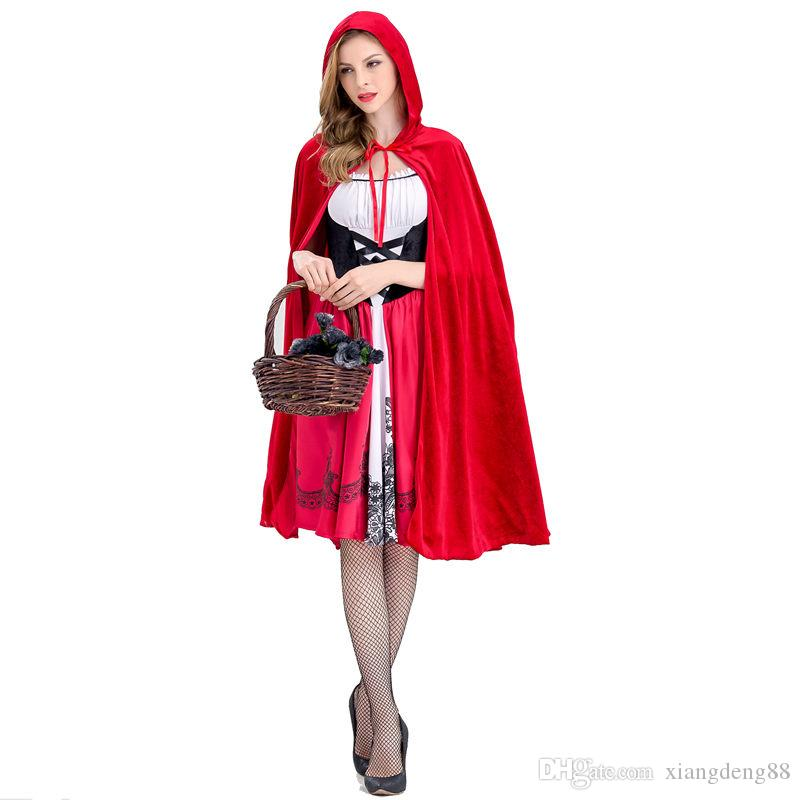 Disfraces Para Halloween De Caperucita Roja.Disfraz De Caperucita Roja Para Mujer Disfraz De Fancy Adult Halloween Cosplay Dress Cloak 2018 Disfraz De Halloween Fashion Fashion New S Xl