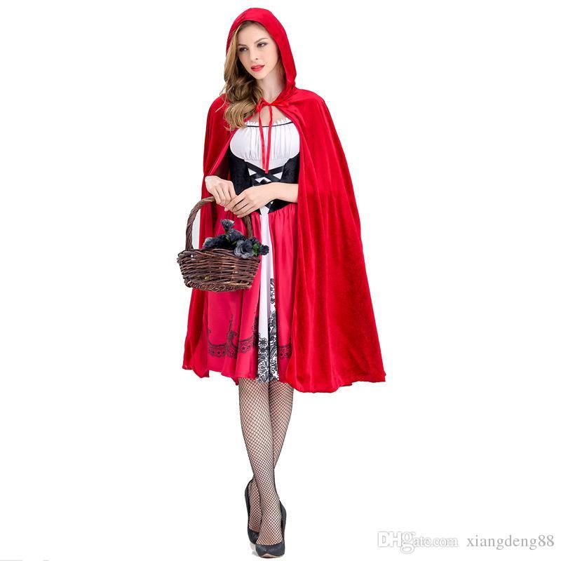 Acheter Petit Chaperon Rouge Costume Pour Les Femmes Fantaisie Adulte  Halloween Cosplay Dress + Cape 2018 Mode Halloween Party Outfit Nouveau S  XL De  32.48 ... 2c4ed49ea87