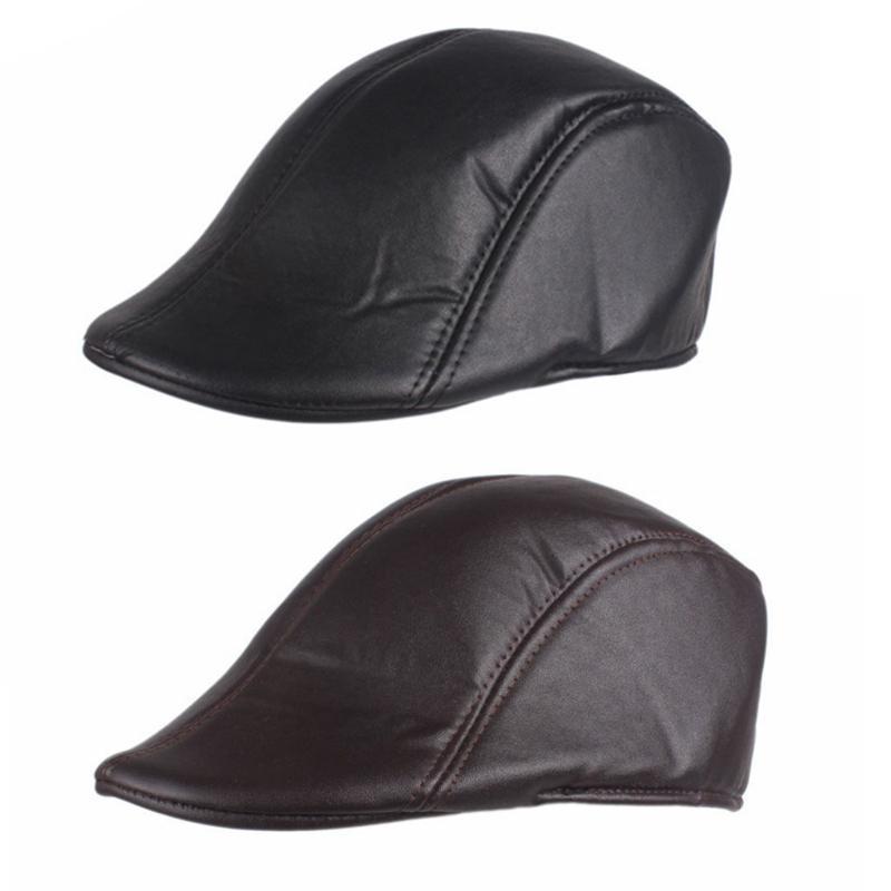 495b42b69 EY Mens Solid Faux Leather Duckbill Beret Caps Unisex Vintage Newsboy Flat  Golf Hat