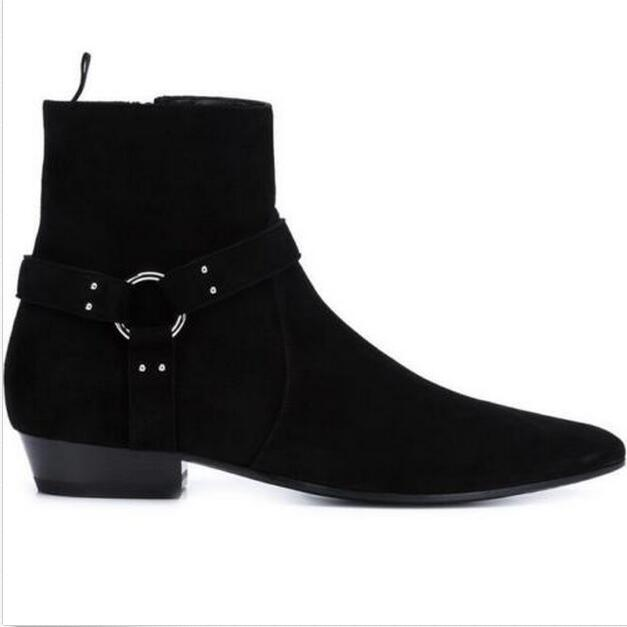 A16 Noir Bas Chaussures Hommes Cuir Suede Top Pointu Chelsea