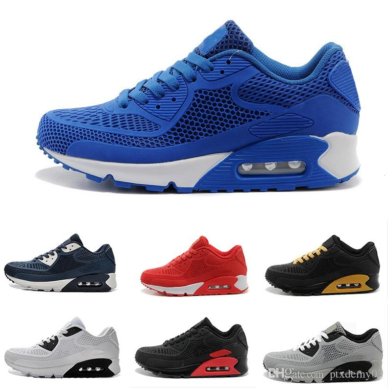 the latest da049 4f703 Acheter Nike Air Max 90 KPU Running Shoes 90 Nmd Pas Cher Vente Chaude  TAVAS SE 90 Airs Thea Print Hommes Femmes Haute Qualité Remise Baskets Authentique  87 ...