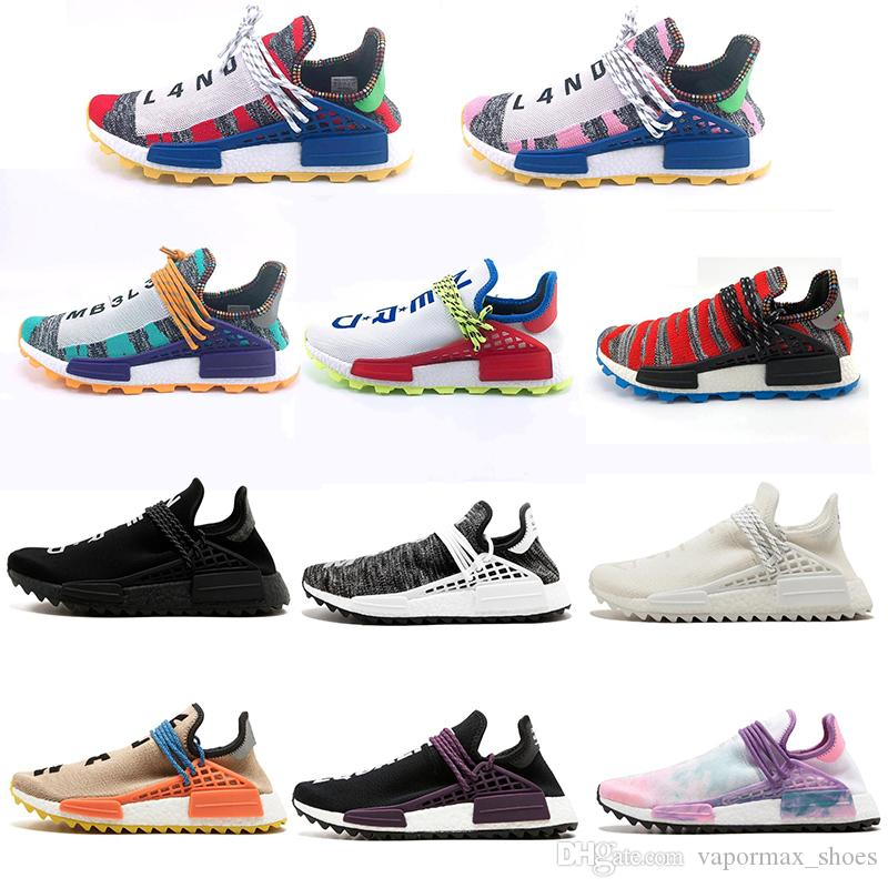 33616d64a Human Race Hu Trail X Pharrell Williams Running Shoes Solar Pack Afro Holi  Blank Canvas Mens Trainers Women Sports Sneaker White Running Shoes Womans  ...
