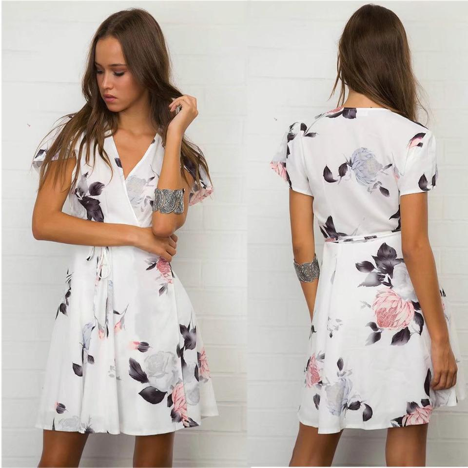 33940c301d753 Wrap V Neck Floral Print White Summer Dress Short Sleeve 2018 Women ...