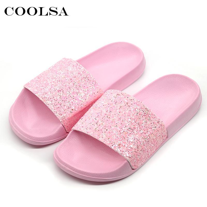 4de8e577e41b3 COOLSA New Summer Women S Slippers PU Bling Bling Slides Flat Soft Bottom Sandals  Home Flip Flops Female Tap Casual Beach Shoes Cowboy Boots For Women Rain  ...