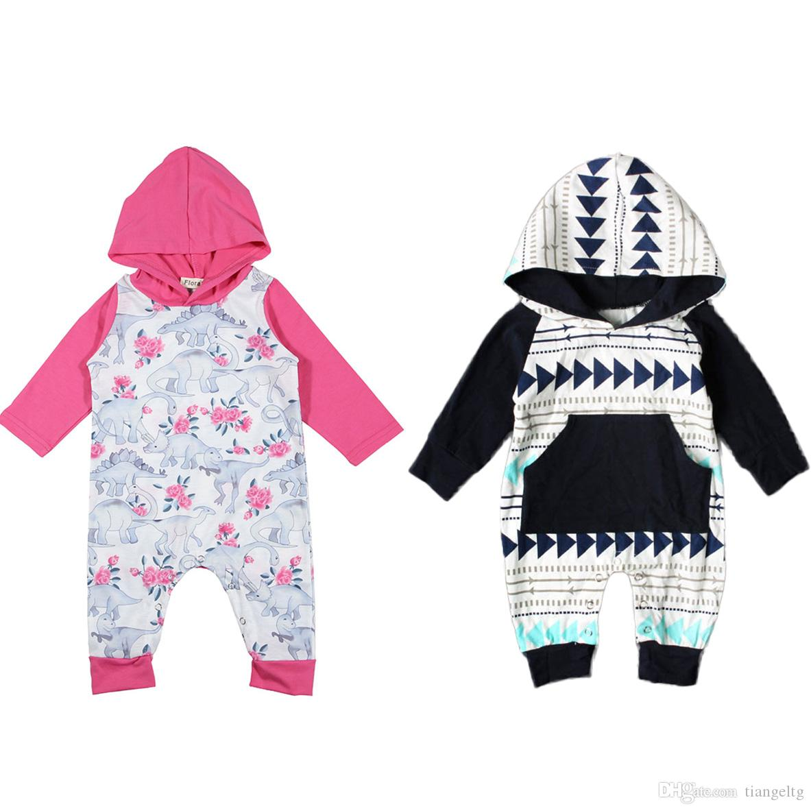 52613ff13dd4 Baby Dinosaur Hooded Rompers Boys Girls Jumpsuits with Hat Floral Striped  Cartoon Printed Hoodies Cotton Blending Spring Autumn 3-24M Dinosaur  Hoodies ...