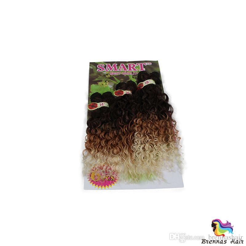 hot Synthetic Hair Weaving Ombre Black Bug Purple Color Weft Hair Curly Synthetic Hair Extensions for full head 16 18 20inc