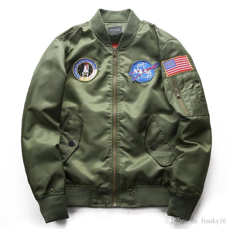 d779a762ddde3 2018 Autumn Winter Plus Size Men s Stand Collar Casual NASA Jacket ...