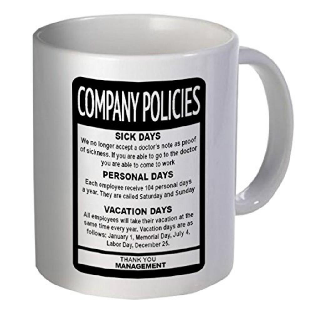 Company Policies Employee Boss Funny Coffee Mug Oversized ...