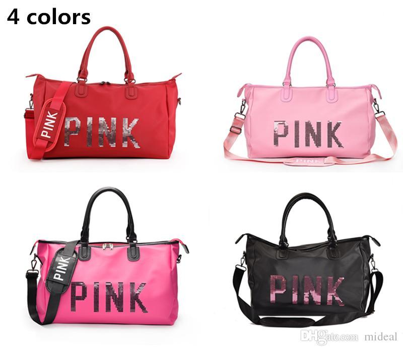 120855e4a811 Newest Pink Letter Sequins Shoulder Bag Large Capacity Women Duffle ...
