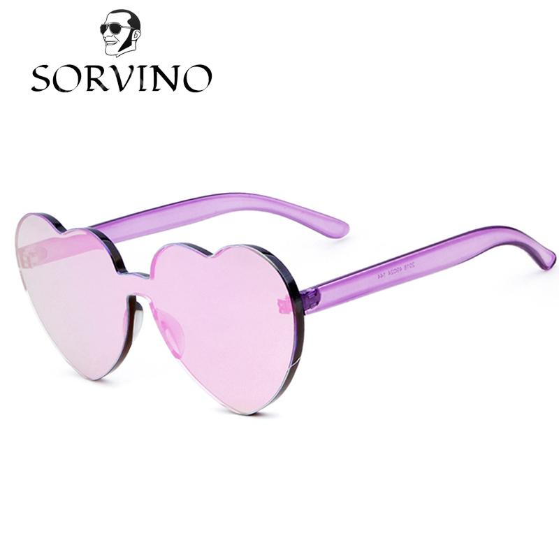 d7793e108d6 SORVINO 2018 Love Heart Shape Sunglasses Women Rimless Frame Tint Clear Lens  Colorful Sun Glasses Red Pink Yellow Shades Dropshipping 448 Cycling  Sunglasses ...