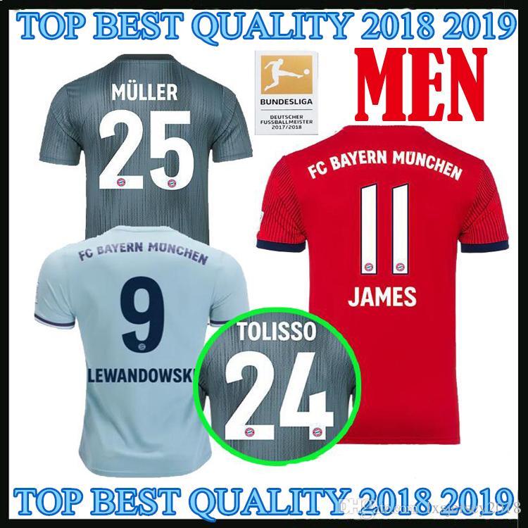 2018 2019 Bayern Munich En Casa Ausente JAMES LEWANDOWSKI Camiseta De  Fútbol VIDAL RIBERY SANCHES 18 19 MULLER ROBBEN Tercera Camiseta De Fútbol  Negra Por ... 06d0121394b