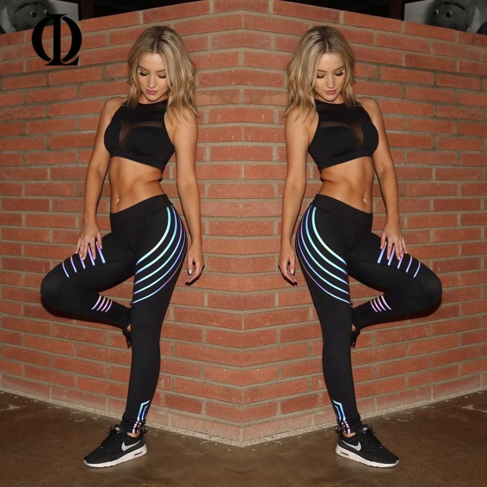 31e265dcc7 2019 OL Printed Reflective Sport Yoga Pants Women Fitness Gym Leggings  Running Compression Tights Quick Dry Sport Clothes Trousers From  Sunnystars, ...