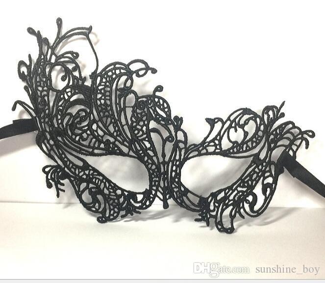 2018 nouveau mode sexy type mascarade halloween exquis dentelle demi visage masque pour dame filles mariage option noir blanc