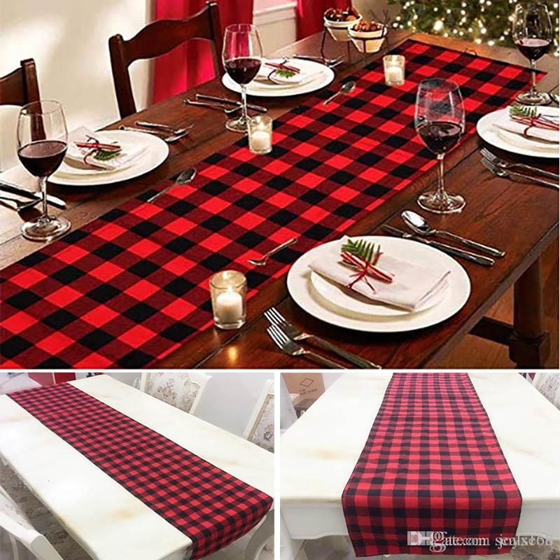 plaid table runner for christmas table decoration family dinners or gatherings indoor outdoor party wedding decor 33274cm hh7 1671 table runner christmas - Christmas Plaid Table Runner