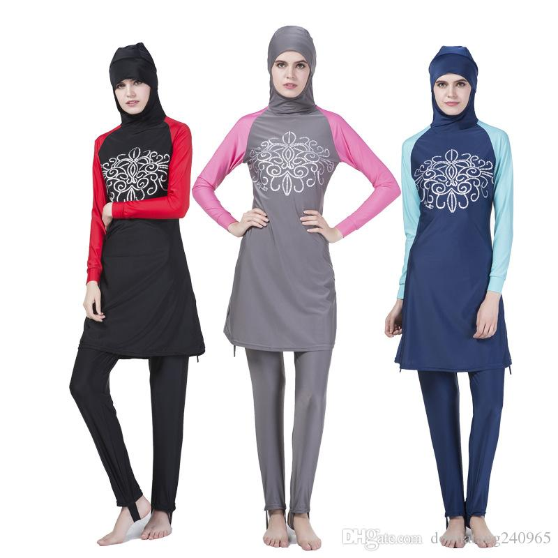 740d7a9b39 2019 Muslim Swimwear Hajib Islamic Swimsuit For Women Mayo Full Cover  Conservative Burkinis Swim Wear Plus Size S 4XL From Donnatang240965