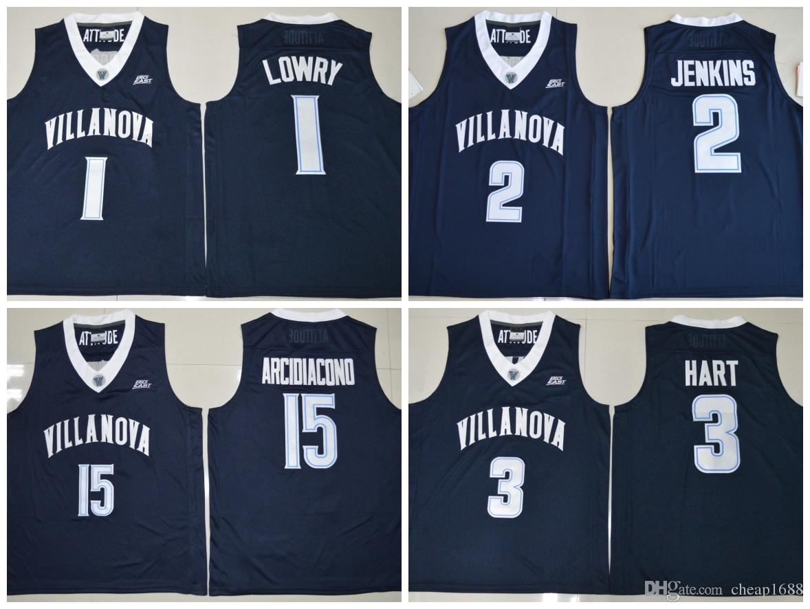 2024f12da 2019 NCAA Villanova Wildcats 15 Ryan Arcidiacono 1 Kyle Lowry 2 Kris  Jenkins 3 Josh Hart Stitched College Basketball Jersey From Cheap1688