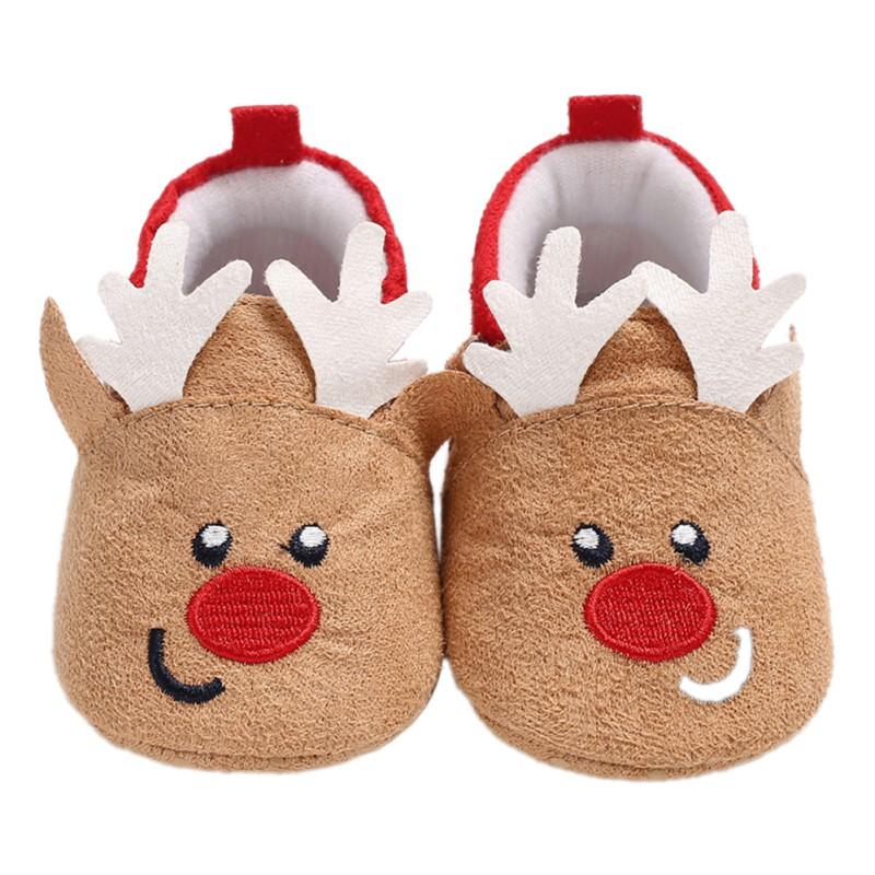 Toddler First Walkers Baby Shoes Deer Prints Round Slip-On Soft Slippers Shallow Christmas Gift Footwear Newborns Autumn Winter