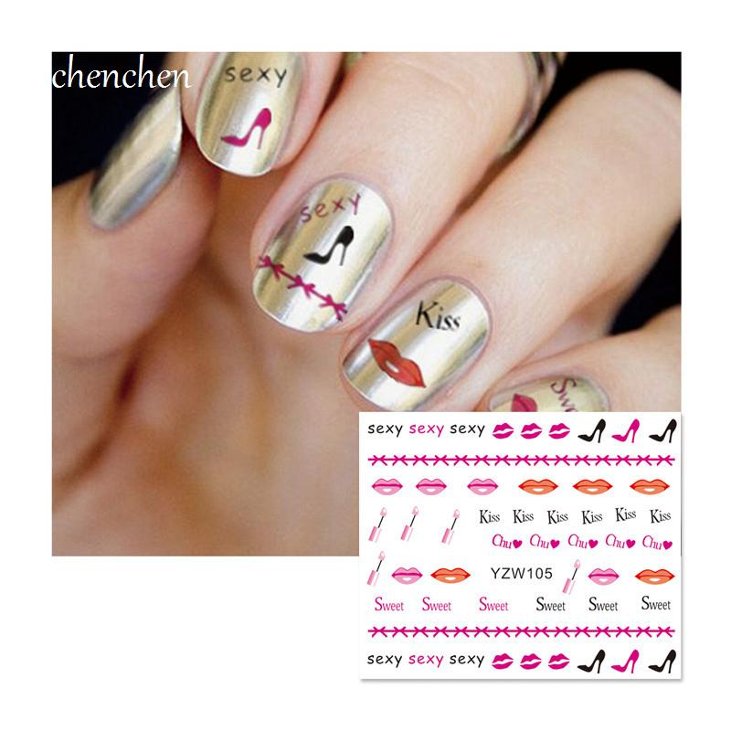 Water Sticker For Nails Art All Decorations Sliders Sexy Sweet Kiss